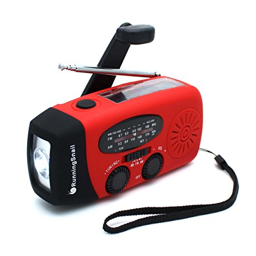 RunningSnail Emergency Hand Crank Self Powered AM/FM NOAA Solar Weather Radio with LED Flashlight, 1000mAh Power Bank for iPhone/Smart Phone