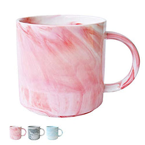 Marble Ceramic Coffee Mug, Pink Marble Cup for Women, Girls, Wife, Mom, Grandma, 13 Ounce/380 ml, 1 Pack