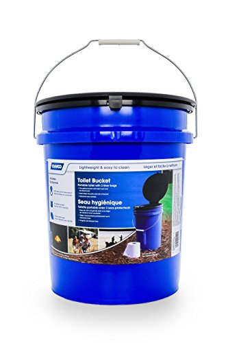 Camco 41549 Portable Toilet Bucket with Seat and Lid Attachment - Holds 5 Gallons, Lightweight and Easy to Clean, Great for Camping, Hiking and Hunting and More