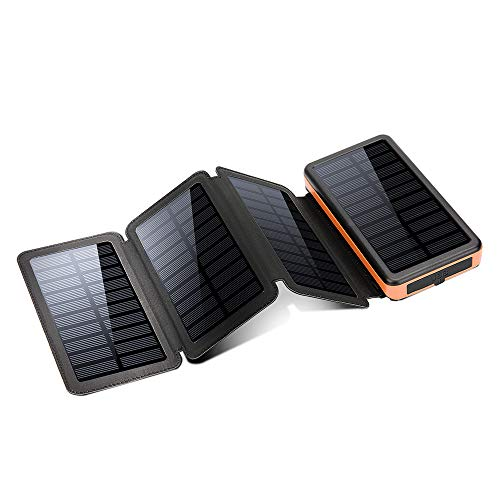 X-DNENG Portable Solar Charger 4 Solar Panels Detachable Emergency Power Bank 20000mAh with USB C Higher Efficiency Outdoor Carabiner Waterproof for Cycling Hiking Travel Outdoor Activities