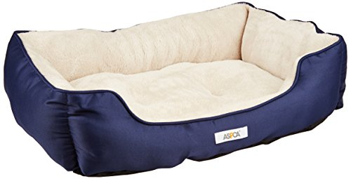 ASPCA Microtech Striped Dog Bed Cuddler, 28 by 20 by 8-Inch, Blue