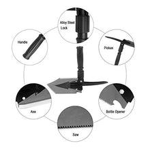 Load image into Gallery viewer, Iunio Military Portable Folding Shovel [38 inch Length] and Pickax with Tactical Waist Pack all-in-1 Army Surplus Multitool Tactical Spade for Camping Hiking Backpacking Entrenching Tool Car Emergency