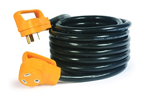 Camco Heavy Duty Outdoor Extension Cord RV Auto Easy PowerGrip Handles- 30 Amp (3750W/125V), 10-Gauge 25ft (55191)