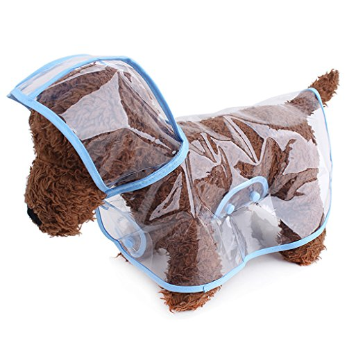 Topsung Waterproof Puppy Raincoat Blue Transparent Pet Rainwear Clothes for Small Dogs/Cats, Size M