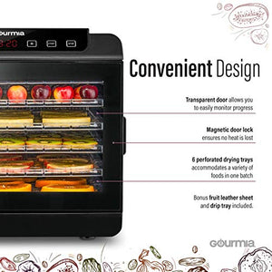 Gourmia GFD1680 Premium Countertop Food Dehydrator 6 Drying Shelves Digital Thermostat Preset Temperature Settings Airflow Circulation Countdown Timer Free Recipe Book Included 110V (6 Tray)