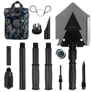 Iunio Military Portable Folding Shovel [38 inch Length] and Pickax with Tactical Waist Pack all-in-1 Army Surplus Multitool Tactical Spade for Camping Hiking Backpacking Entrenching Tool Car Emergency