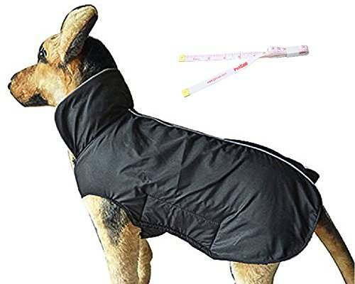 PETCEE Waterproof Dog Jacket Fleece Lined Reflective Loft Climate Changer Dog Windproof Coat (Black XXL)