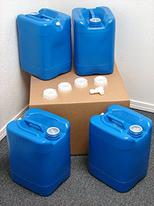 API Kirk Containers 5 Gallon Samson Stackers, Blue, 4 Pack (20 Gallons), Emergency Water Storage Kit - New! - Clean! - Boxed! - Free Spigot and Cap Wrench!