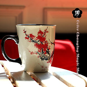 Asmwo Color Changing Heat Sensitive Magic Funny Art Mug Large Coffee Tea Plum Blossom Porcelain Mugs for Women Mom grandma Gifts 16oz Black Change Glow Red Cups