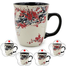 Load image into Gallery viewer, Asmwo Color Changing Heat Sensitive Magic Funny Art Mug Large Coffee Tea Plum Blossom Porcelain Mugs for Women Mom grandma Gifts 16oz Black Change Glow Red Cups