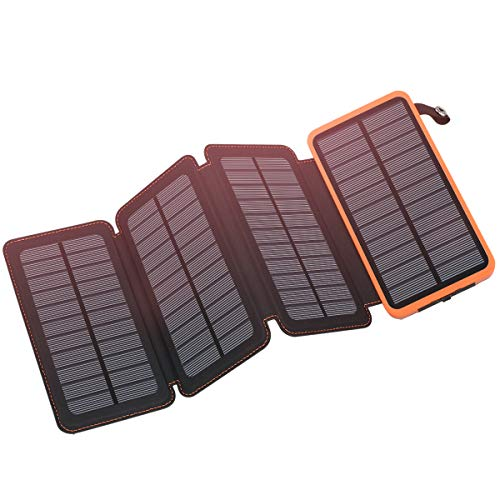 FEELLE Solar Charger 25000mAh Waterproof Solar Power Bank Portable Charger Compatible iPhone, iPad, Samsung Galaxy- 92.5Wh