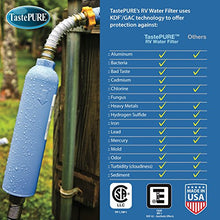 Load image into Gallery viewer, Camco TastePURE Water Filter with Flexible Hose Protector Greatly Reduces Bad Taste, Odors, Chlorine and Sediment in Drinking Water (40043)