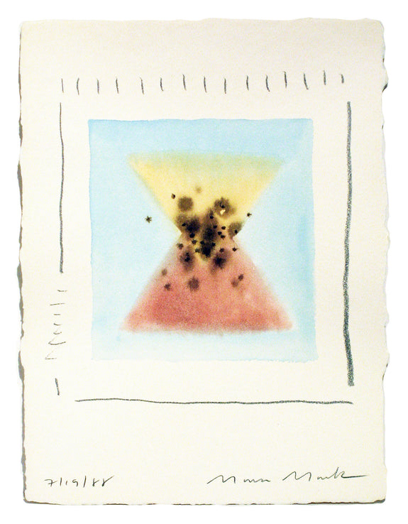 Pink & Blue Triangles Series #6 - Watercolor by Mona Mark