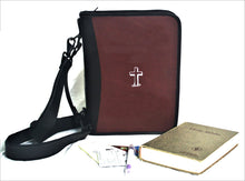 Bible Case Deluxe in Leather with Printed Cross