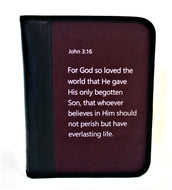 Bible Case in Fabric and Leather with Printed Scripture Text