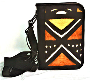 Bible Case Deluxe in African Mudcloth Print and Leather