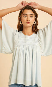 Angee Powder Blue Embroidered Smocked Blouse Top