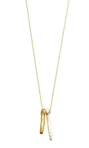 Chic Gold Metal Freshwater Pearl Pendant Necklace
