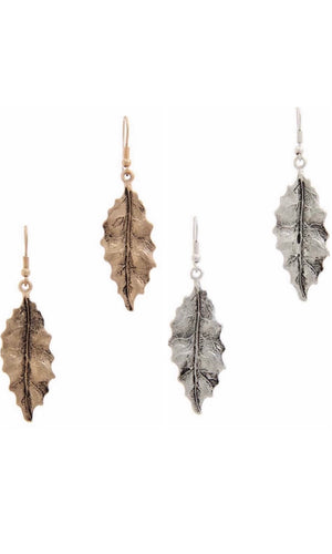 Boho Antique Metal Etched Leaf Drop Earring