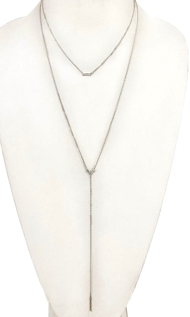 Bar Pendant Silver Triangle Layered Necklace