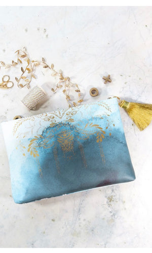 "Papaya Blue ""Catalina Watercolor"" Large Tassel Pouch Clutch Purse"