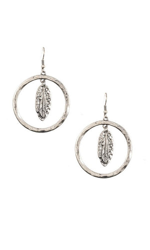 Etched Circle Leaf Dangle Earrings