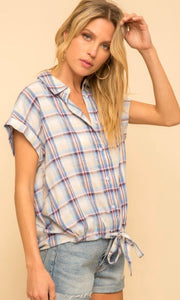 Ada Blue Plaid Ruched Bottom Tie-Front Shirt Top