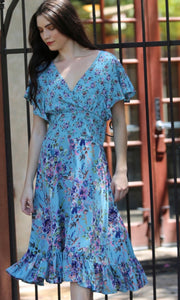 Allston Blue Floral Empire Smocked Midi Dress