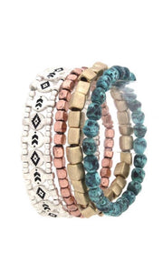 Tribal Hammered Mixed Metal Stacked Bracelet Set