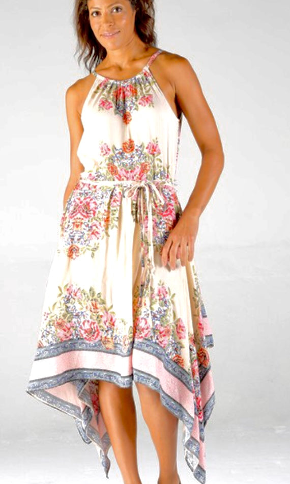 Aminda Cream Floral Border Print Hanky Hemline Midi Dress