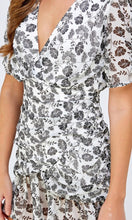 Achernar Black & White Floral Ruffle Mini Dress