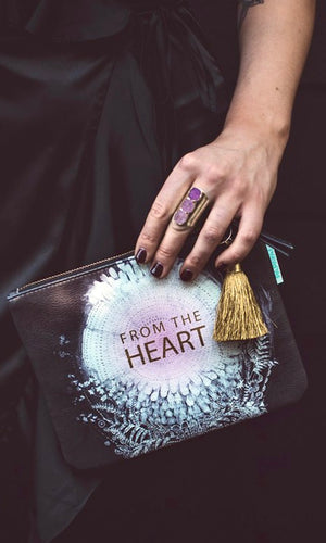 "Papaya Black ""From The Heart"" Pocket Clutch Bag"
