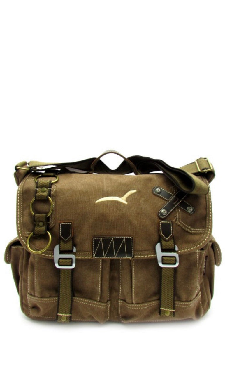 Bastille Washed Brown Embroidered Military Utility Canvas Messenger Bag