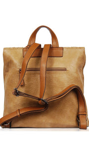 Biscayne Taupe Soft Vegan Leather Backpack Crossbody HandBag