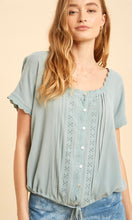 Amina Sage Blue  Boho Embroidered Shirt Top