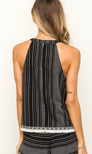 SALE! Ashmore Black Textured Fringe Edge Tank Shirt Top