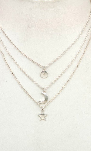 Celestial Worn Silver Triple Layered Necklace