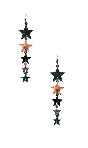 Burnished Muti Metal Patina Teardrop Stars Earrings