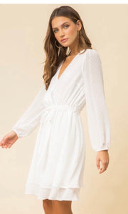 Asabelle White Surplice Vee Neck Dress