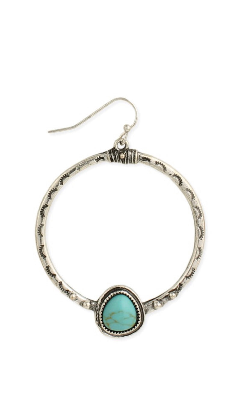 Rustic Hammered Silver Turquoise Teardrop Round Dangle Earrings
