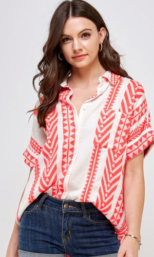 Albali Pink Cream Baja Multi Stripe Short Sleeve Shirt