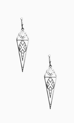 Chic Antique Worn Silver Metal Geo Cutout Teardrop Earrings