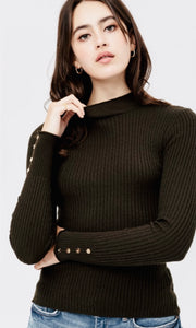 Aszis Black Button Cuff Fitted Rib Knit Sweater Top