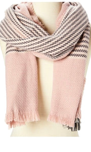 Alivia Pink Houndstooth and Plaid Cozy Fringe Scarf
