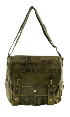 Brugge Army Green Military Printed Utility Canvas Messenger Bag