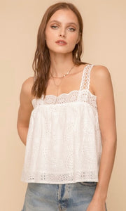 Aisey White Eyelet Vintage-Inspired Tank Top