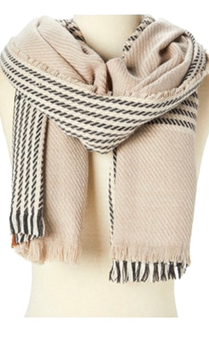 Alivia Beige Houndstooth and Plaid Cozy Fringe Scarf