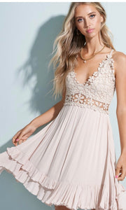 Adalie Khaki Beige Lace Crossback Halter Dress