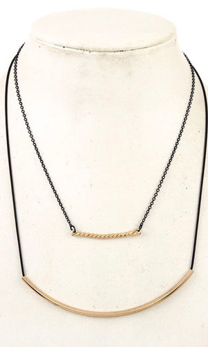 Chic Black Gold Curved Pendant Double Row Necklace
