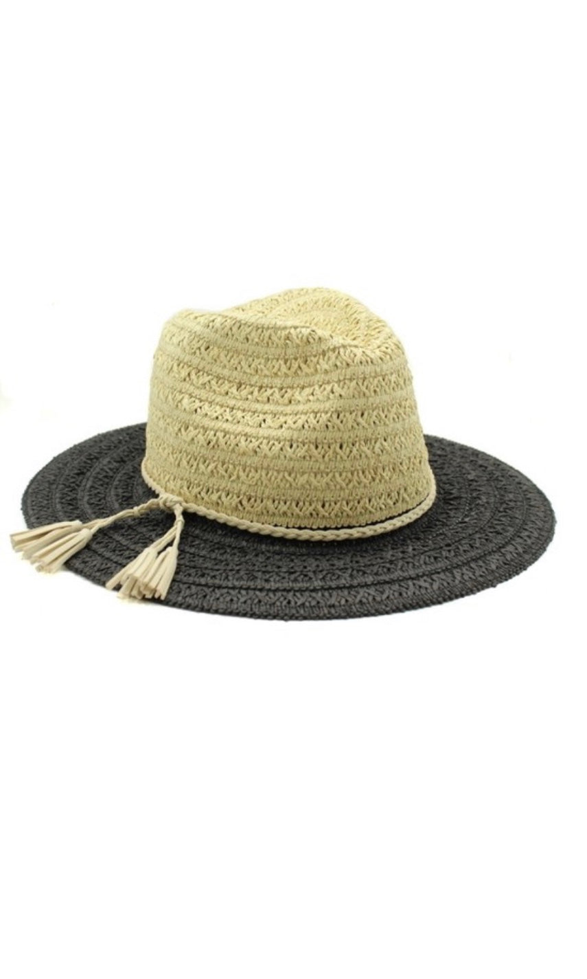 Boho Natural & Black Brim Panama Sun Hat
